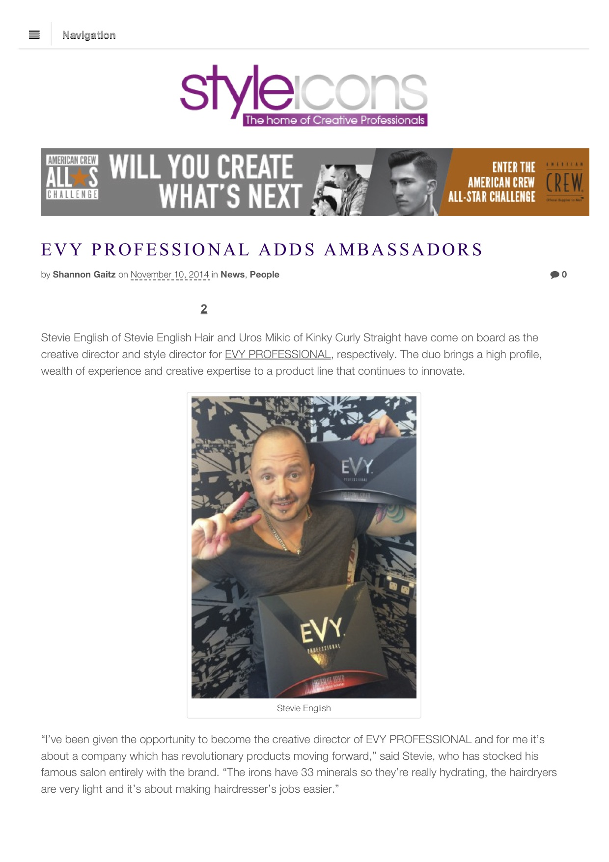 EVY PROFESSIONAL Adds Ambassadors | Styleicons