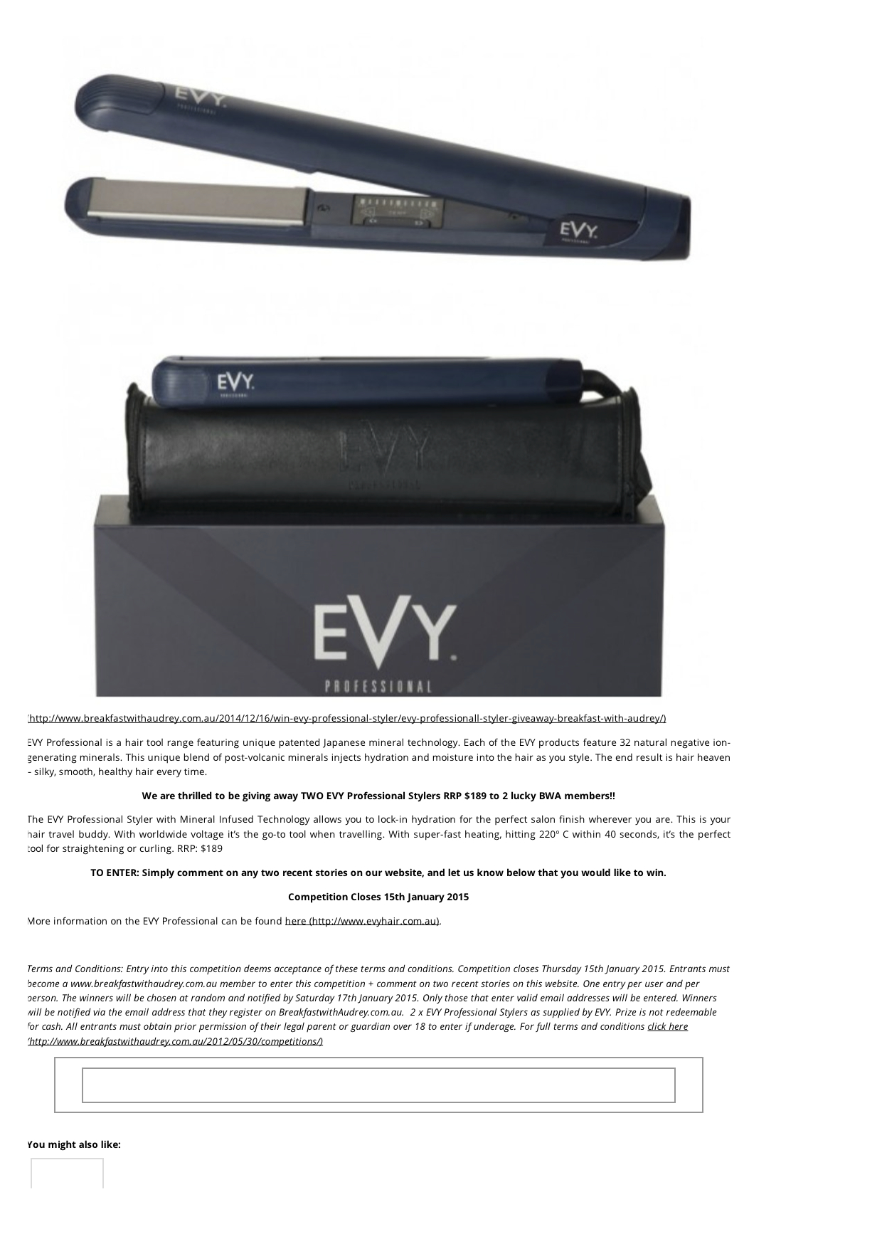 Win 1 of 2 EVY Professional Stylers Valued At $189 each! - Breakfast With Audrey1